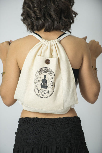 Yoga Stamp Cotton Drawstring Backpack in Cream