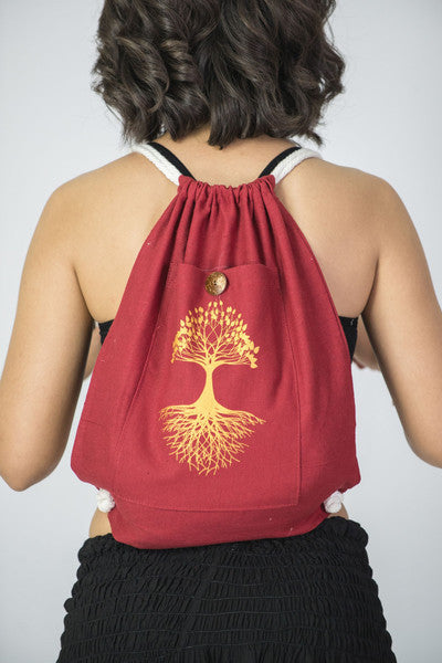 Tree of Life Cotton Drawstring Backpack in Red