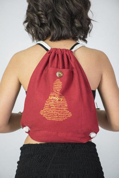 Harmony Cotton Drawstring Backpack in Red