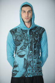 Unisex Butterfly Buddha Hoodie in Turquoise