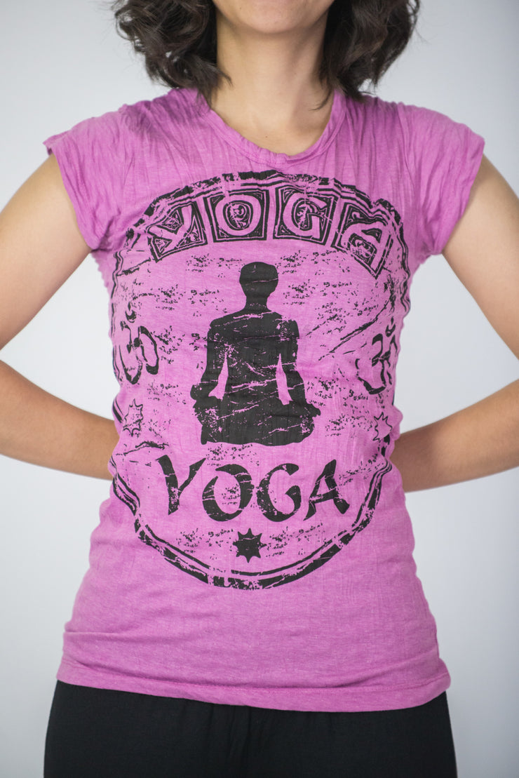 Womens Infinitee Yoga Stamp T-Shirt in Pink