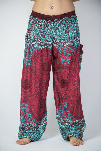 Unisex Geometric Mandalas Harem Pants in Red