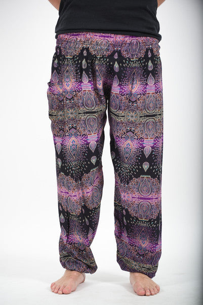 Unisex Paisley Harem Pants in Purple
