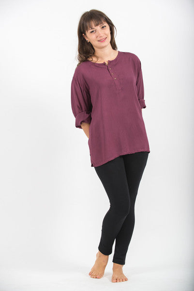 Womens Coconut Buttons Yoga Shirt in Dark Purple