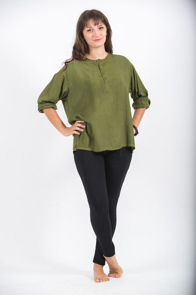 Womens Coconut Buttons Yoga Shirt in Olive