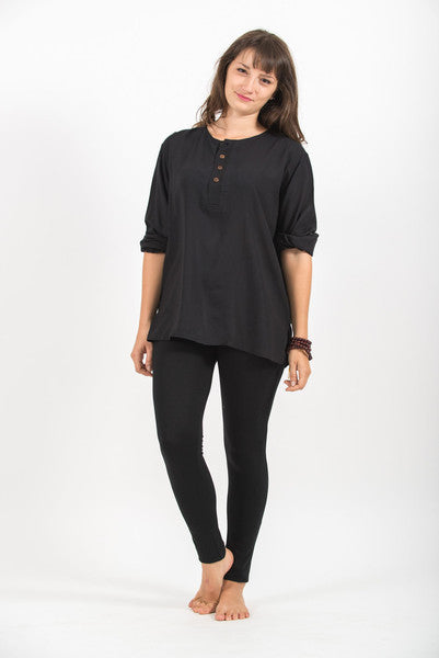 Womens Coconut Buttons Yoga Shirt in Black