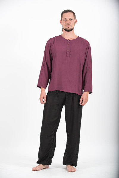 Mens Yoga Shirts No Collar With Coconut Buttons...