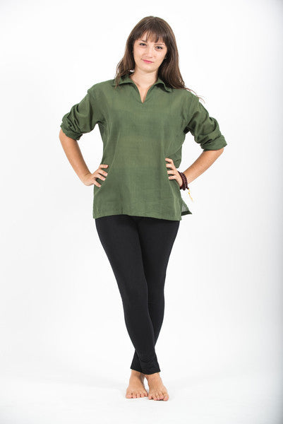 Womens V Neck Collar Yoga Shirt in Olive