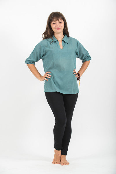 Womens V Neck Collar Yoga Shirt in Aqua