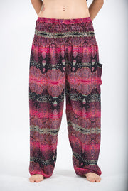 Unisex Paisley Harem Pants in Pink