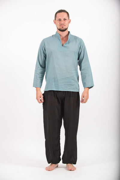 Mens V Neck Band Collar Yoga Shirt in Aqua