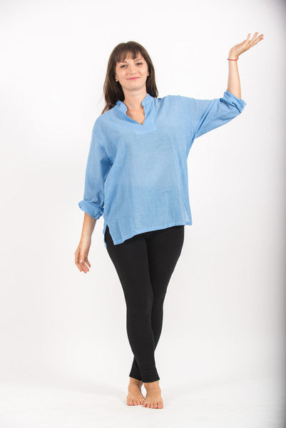Womens V Neck Band Collar Yoga Shirt in Blue