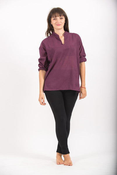 Womens V Neck Band Collar Yoga Shirt in Dark Purple