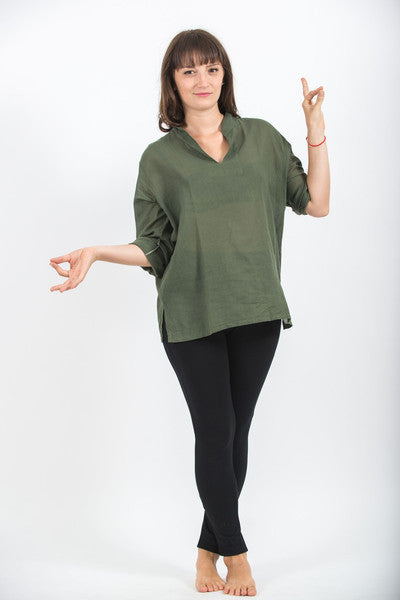 Womens V Neck Band Collar Yoga Shirt in Olive