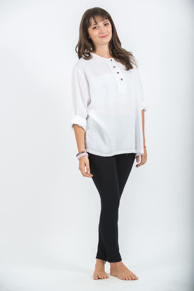 Womens Coconut Buttons Yoga Shirt in White