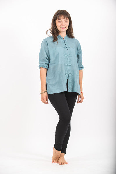 Womens Chinese Collar Yoga Shirt in Aqua
