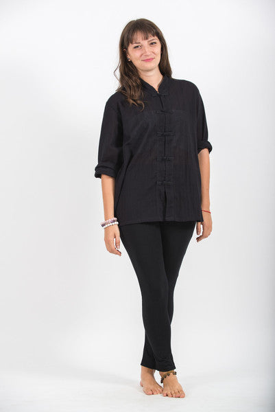 Womens Chinese Collar Yoga Shirt in Black