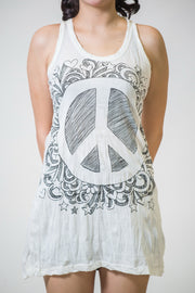 Womens Peace Sign Tank Dress in White