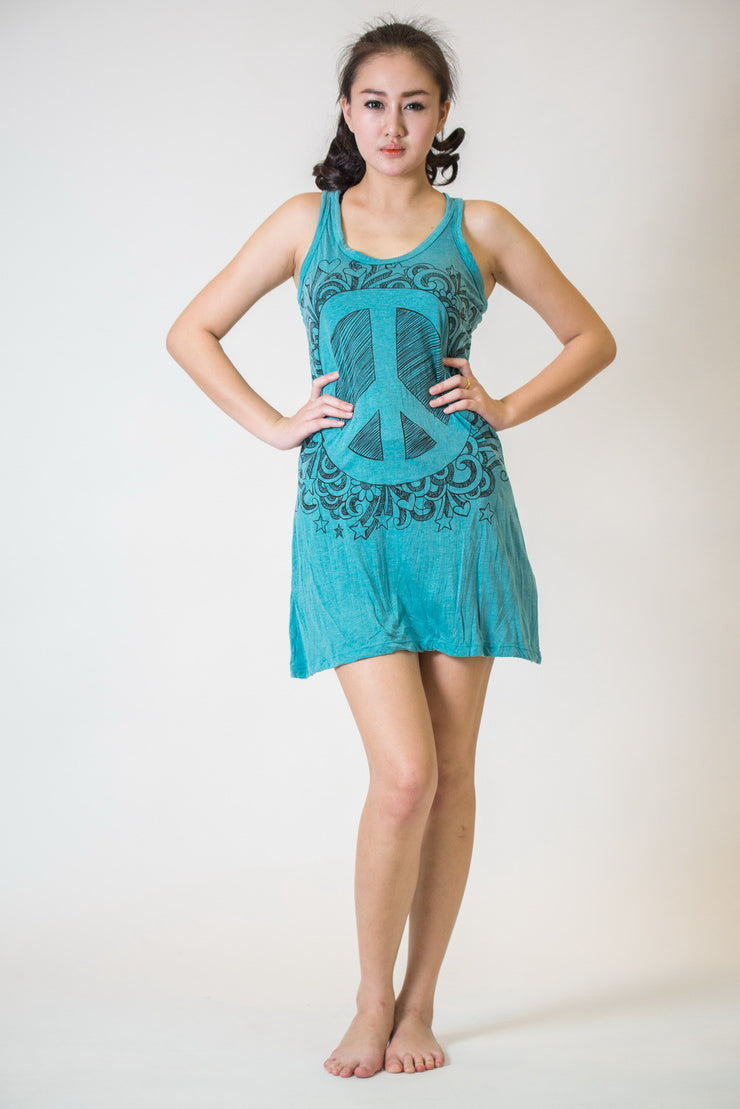 Womens Peace Sign Tank Dress in Turquoise