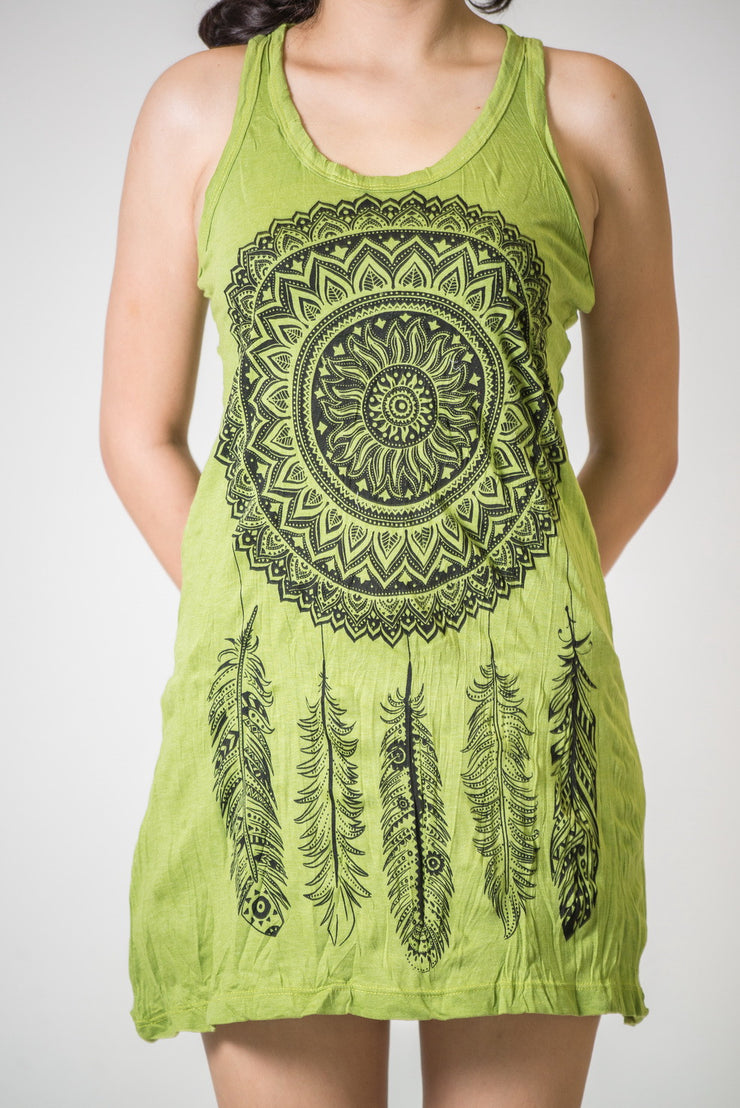 Womens Dreamcatcher Tank Dress in Lime