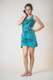 Womens Cute Ganesh Tank Dress in Turquoise
