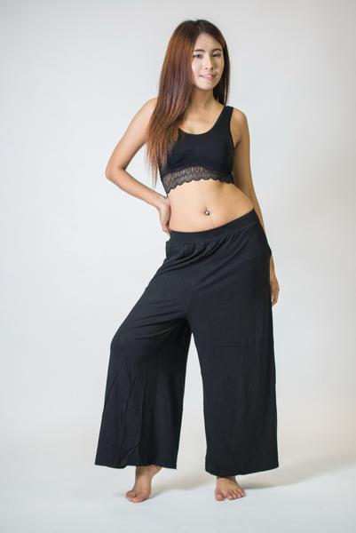 Womens Solid Color Stretchy Palazzo Pants in Black