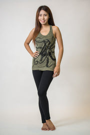 Womens Octopus Tank Top in Green