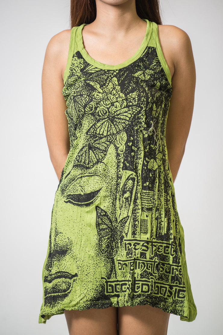 Womens Butterfly Buddha Tank Dress in Lime