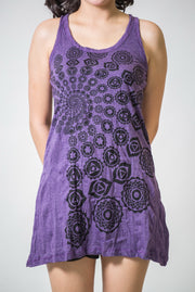 Womens Chakra Fractal Tank Dress in Purple