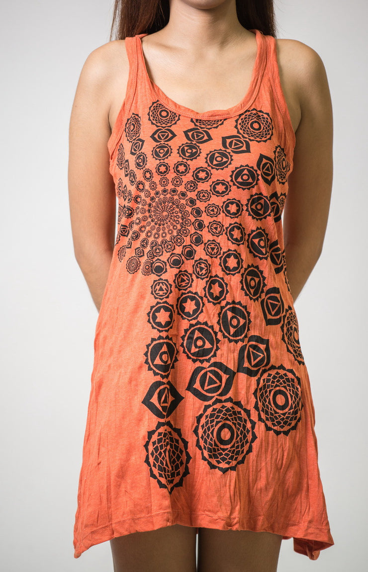 Womens Chakra Fractal Tank Dress in Orange