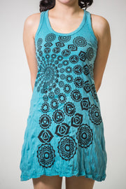 Womens Chakra Fractal Tank Dress in Turquoise