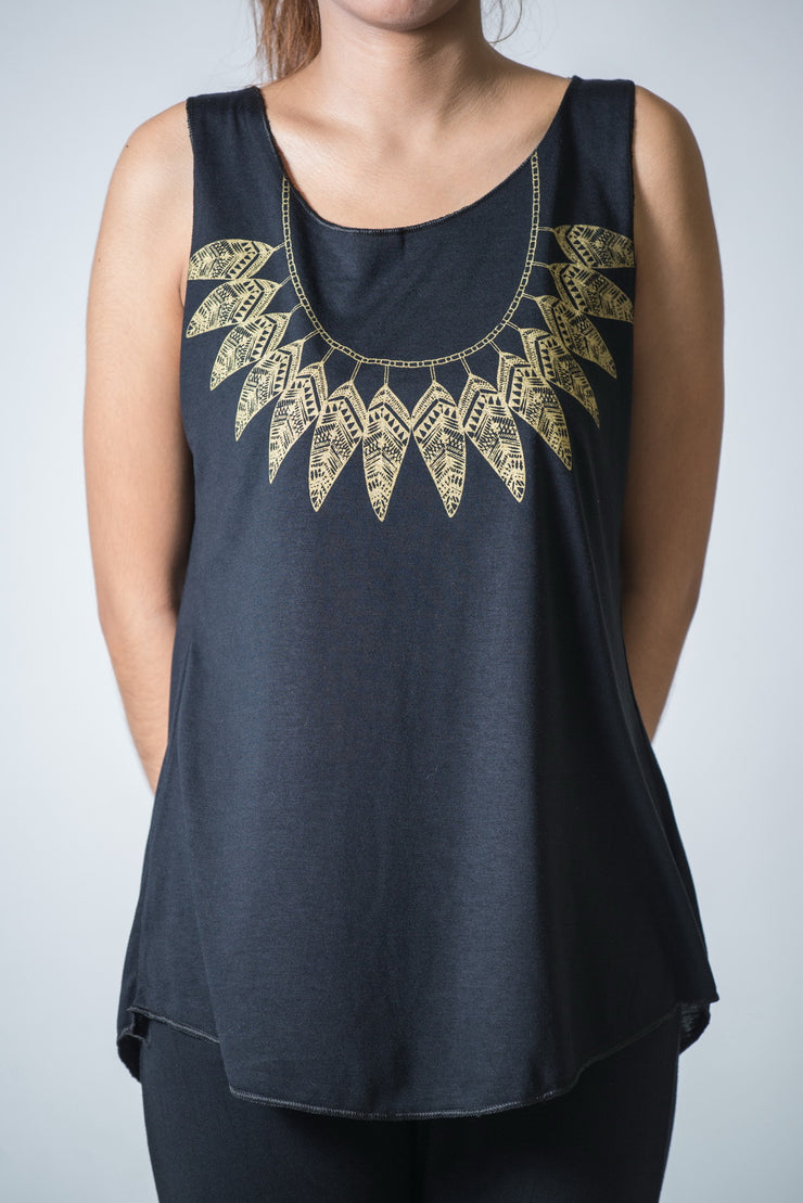 Womens Feather Necklace Tank Top in Gold on Black