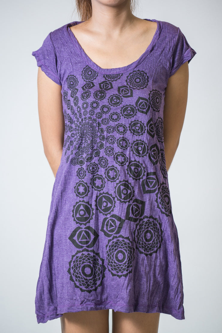 Womens Chakra Fractal Dress in Purple