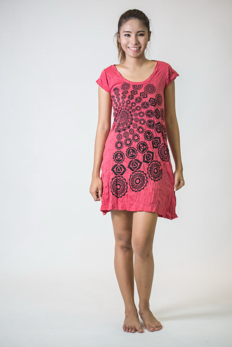 Womens Chakra Fractal Dress in Red