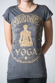 Womens Infinitee Yoga Stamp T-Shirt in Gold on Black
