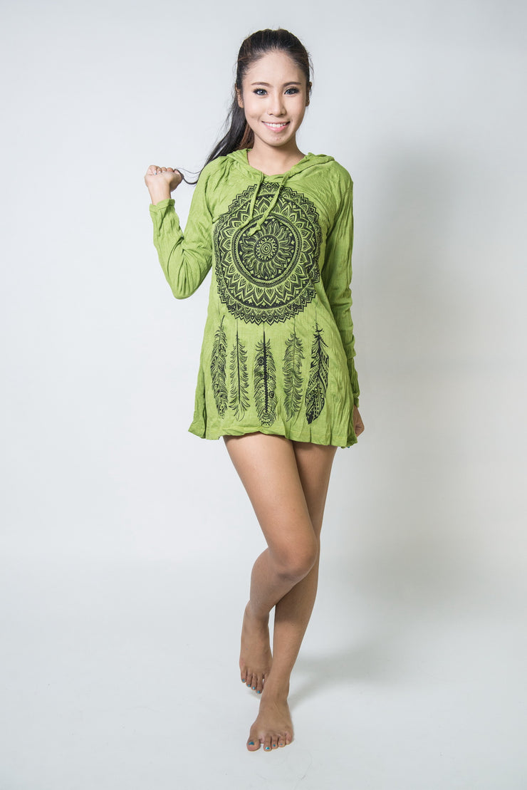 Womens Dreamcatcher Hoodie Dress in Lime
