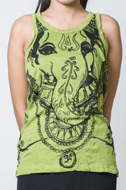 Womens Big Face Ganesh Tank Top in Lime