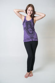 Womens Three Hands Tank Top in Purple