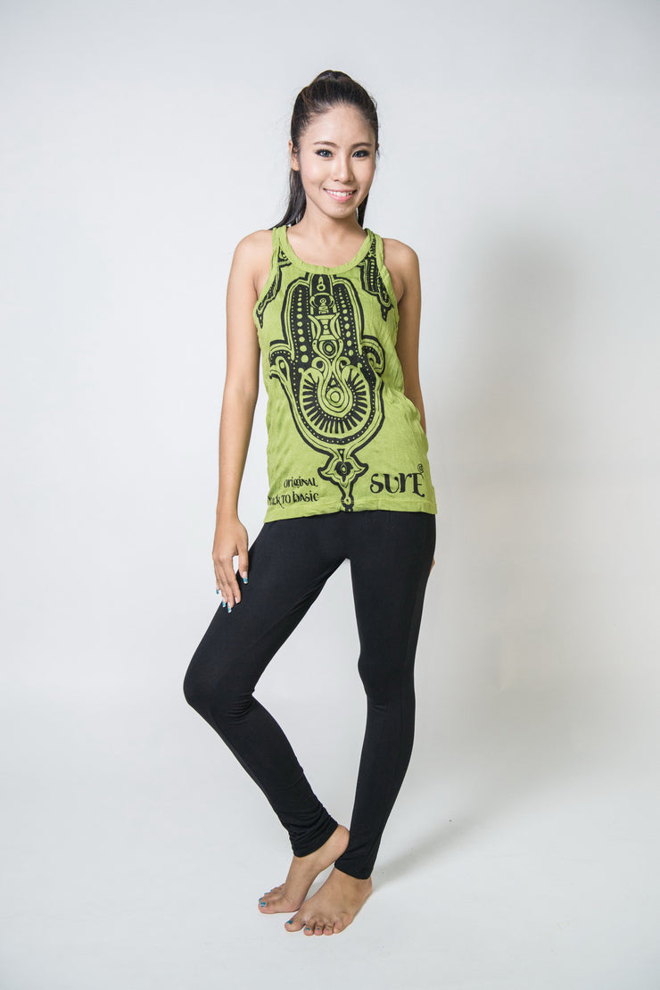 Womens Three Hands Tank Top in Lime