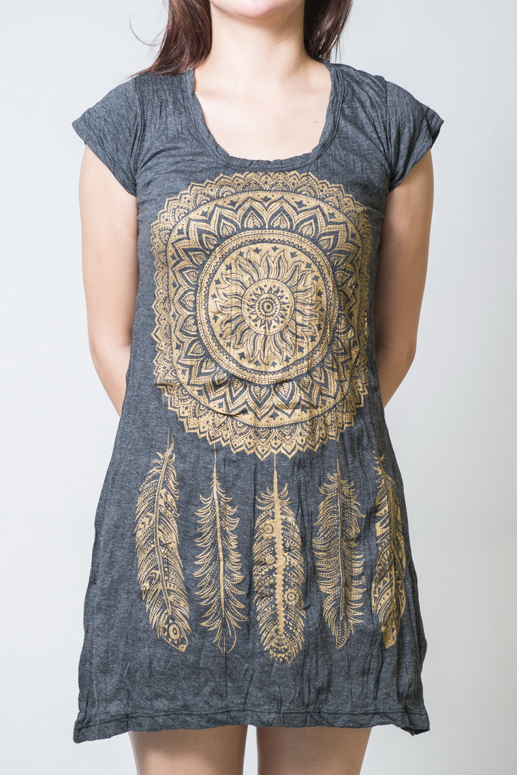 Womens Dreamcatcher Dress in Gold on Black