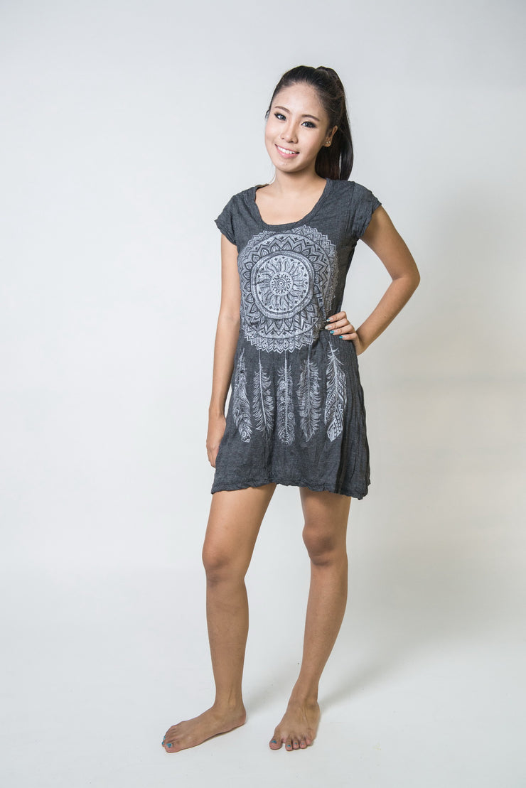 Womens Dreamcatcher Dress in Silver on Black