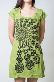 Womens Chakra Fractal Dress in Lime