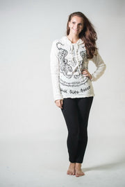 Unisex Thai Tattoo Hoodie in White
