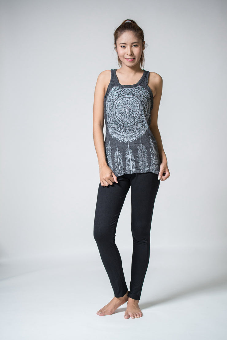 Womens Dreamcatcher Tank Top in Silver on Black