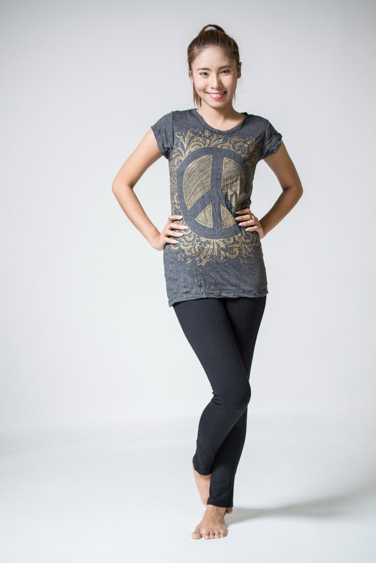 Womens Peace Sign T-Shirt in Gold on Black