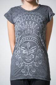 Womens Durga T-Shirt in Silver on Black