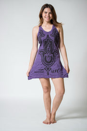 Womens Three Hands Tank Dress in Purple