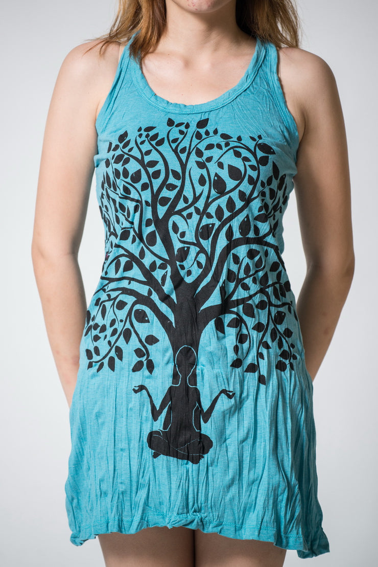 Womens Meditation Tree Tank Dress in Turquoise