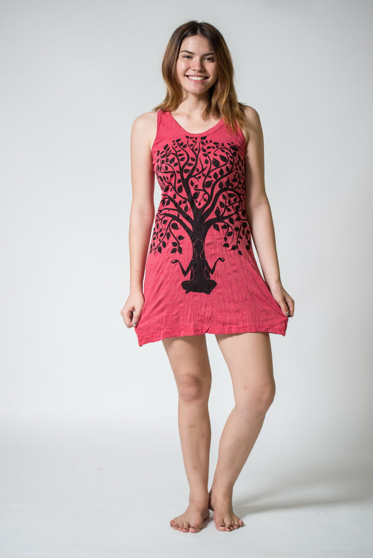 Womens Meditation Tree Tank Dress in Red