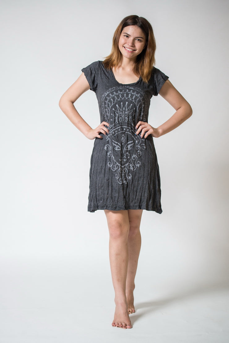 Womens Durga Dress in Silver on Black